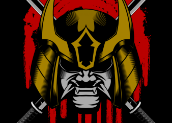 Ronin samurai head helmet vector illustration