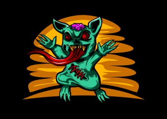 Zombie Cat t shirt graphic design