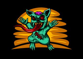 Zombie Cat t shirt template