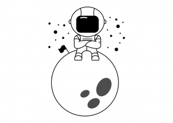 Astronaut sitting on a moon minimalistic vector t-shirt design buy t shirt design