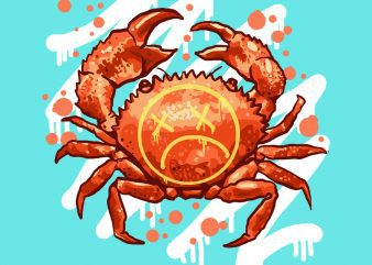 sad crab tshirt design buy t shirt design