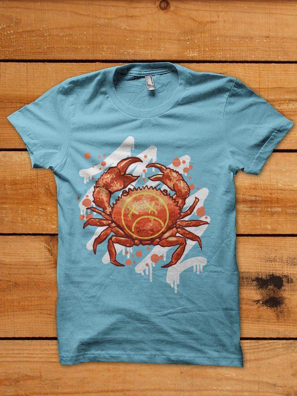 sad crab tshirt design buy t shirt design