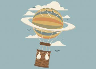Air Baloon Saturn Tshirt Design
