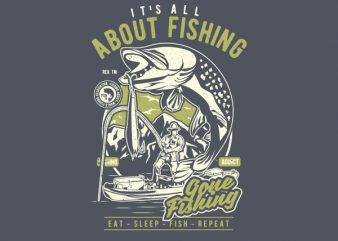 All About Fishing Graphic t-shirt design buy t shirt design