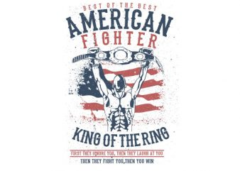 American Fighter Graphic t-shirt design buy t shirt design
