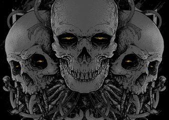 3 Skull buy t shirt design
