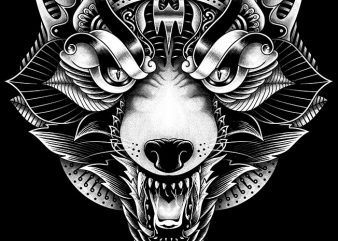 Wolf Angry Ornate buy t shirt design