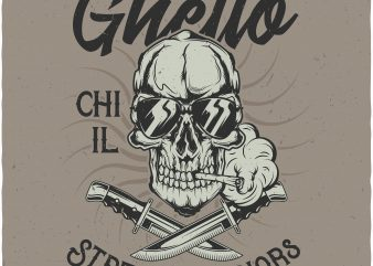 Ghetto Street warriors. Vector T-Shirt Design