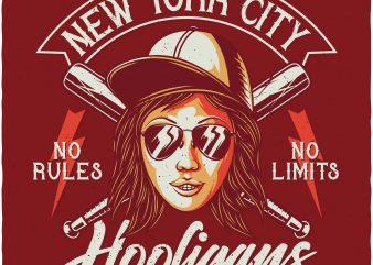 NYC Hooligans. Vector T-Shirt Design t shirt template