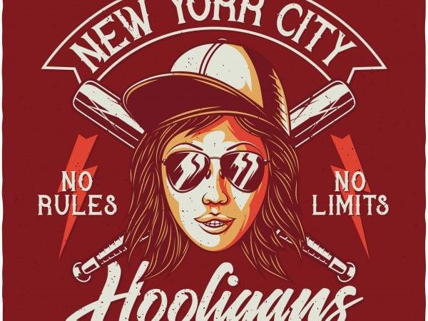 NYC Hooligans. Vector T-Shirt Design buy t shirt design
