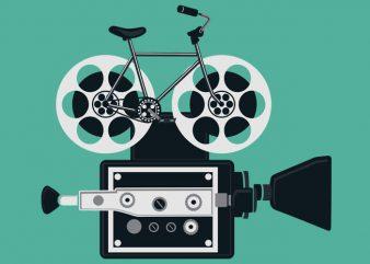 Bicycle Roll Film Tshirt Design t shirt vector