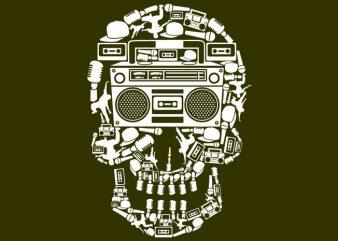 Boombox Skull Tshirt Design buy t shirt design