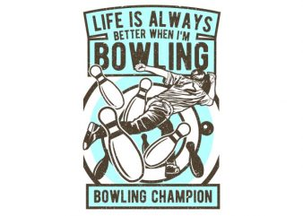 Bowling Champion Graphic t-shirt design t shirt template