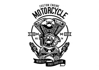 Custom Engine Motorcycle Tshirt Design buy t shirt design
