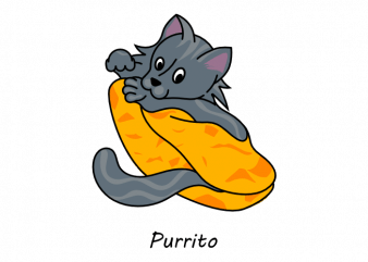 Cute cat wrapped up like a burrito funny purrito vector t shirt design
