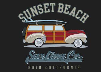 Sunset Beach Surfing buy t shirt design