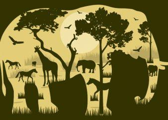 Elephant Forest Tshirt Design buy t shirt design