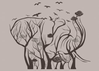 Elephant Tree Tshirt Design