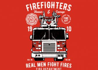 Firefighters Truck Vector t-shirt design
