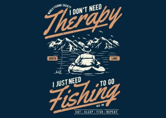 Fishing Therapy Graphic t-shirt design buy t shirt design