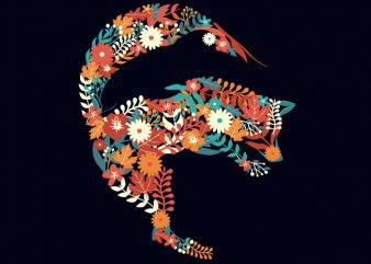 Fox Flower Dolphin Tshirt Design