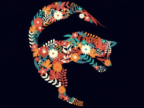 Fox Flower Dolphin Tshirt Design