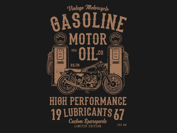 Gasoline Motor Oil Graphic t-shirt design buy t shirt design