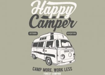 Happy Camper Graphic t-shirt design buy t shirt design