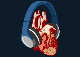 Heart Headphone Tshirt Design buy t shirt design