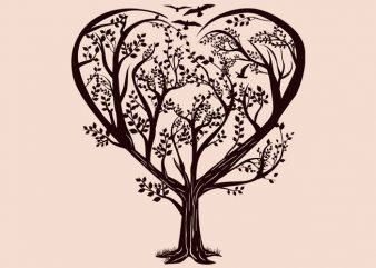 Heart Tree Tshirt Design