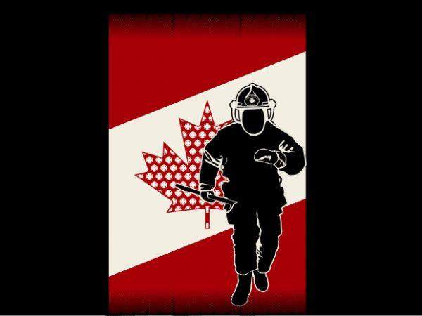 Canadian Fireman Flag t shirt vector file