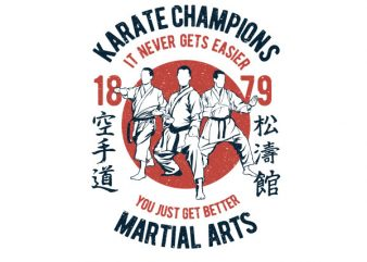 Karate Champions Graphic t-shirt design t shirt template