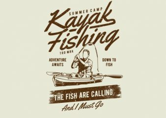 Kayak Fishing Graphic t-shirt design
