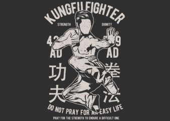 Kungfu Fighter Graphic t-shirt design t shirt template
