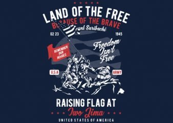 Land Of The Free Graphic t-shirt design t shirt template