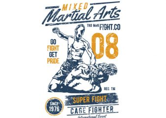 Mixed Martial Arts Graphic t-shirt design t shirt template