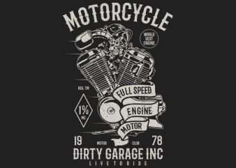 Motorcycle Full Speed Engine Vector t-shirt design buy t shirt design