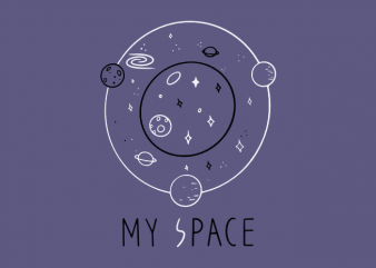 My space universe vector with planets t shirt graphic design