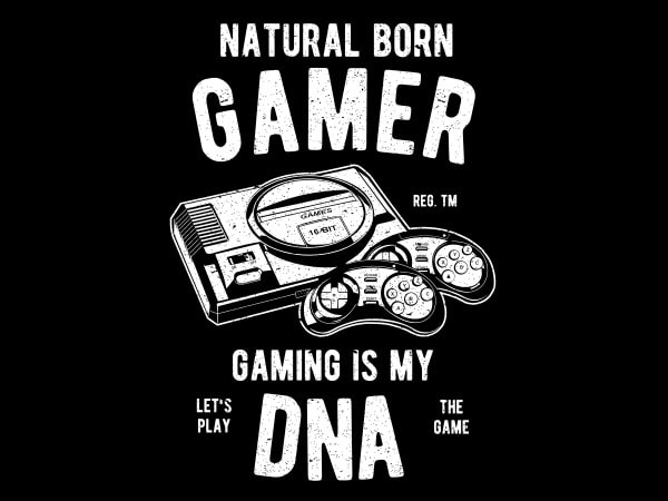 Natural Born Gamer Graphic t-shirt design buy t shirt design