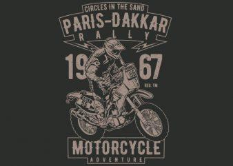 Paris Dakkar Rally Motorcycle Vector t-shirt design buy t shirt design