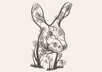 Rabbit Tree Tshirt Design buy t shirt design