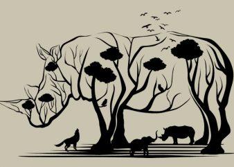 Rhino Tree Tshirt Design buy t shirt design