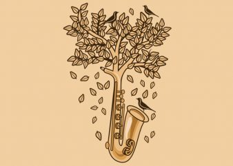 Saxophone Tree Tshirt Design