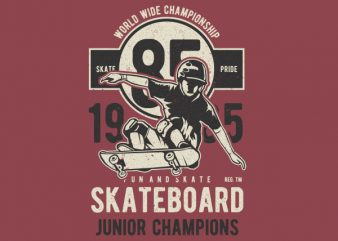 Skateboard Junior Champions Graphic t-shirt design t shirt template