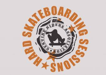 Hard Skateboarding t shirt template