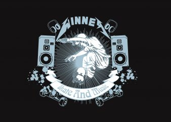 Wine Skate and Music t shirt design for sale