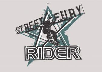 Street Eury Rider Skateboard t shirt template vector