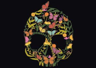 Skull Flower Tshirt Design buy t shirt design
