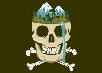 Skull Waterfall Tshirt Design buy t shirt design