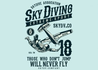 Sky Diving Vector t-shirt design t shirt template